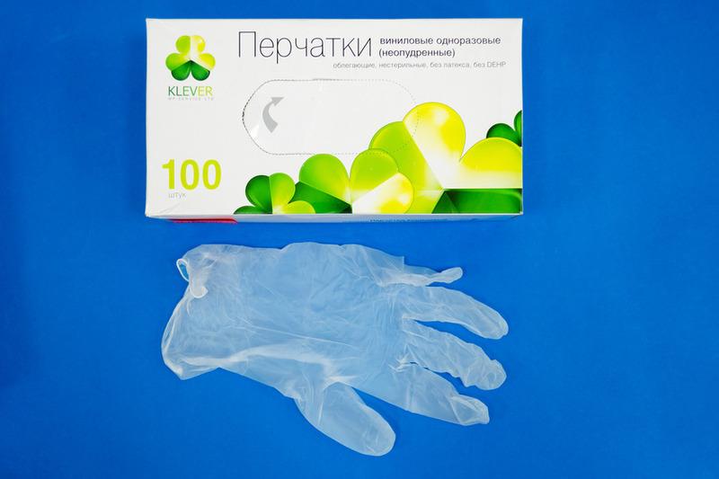 Перчатки виниловые М Klever (11000100шт)