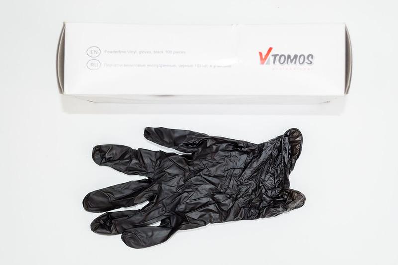 Перчатки виниловые M черные ToMoS (11000100шт)