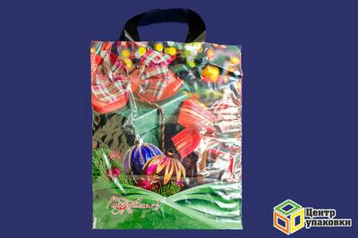 Пакет майка ПВД Новый год в асс.28-34 с петл.ручкой ВД 60 мкм  (150025шт)