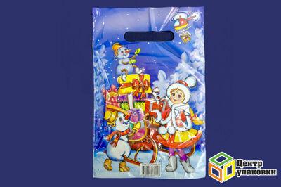 Пакет майка ПВД Новый год в асс.30-20 с вырубной ручкой 40мкр (13000100шт) МР