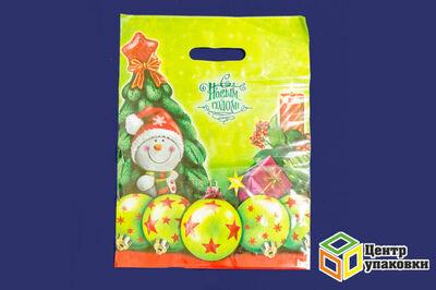 Пакет майка ПВД Новый год в асс.31-40 с вырубной ручкой 60мкр (1100050шт) ИНТЕРПЛАСТ