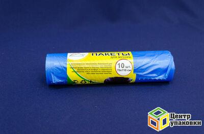 Мусорный пакет ПНД 120л (1-80-10 штрул) син корот