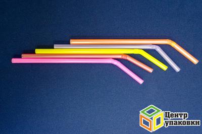 Трубочка Джамбо 0,8×24см неоновые с изгибом (1-21-250шт.)