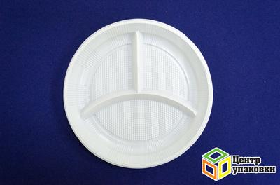 Тарелка Д 205 бел 3-х секц PS (11600100шт)