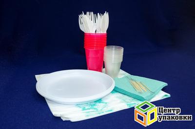 Набор Наприроду по10шт. (тарелка+ салфетка+ стакан+ вилка+ нож+ зубочистка) (1-30уп.)