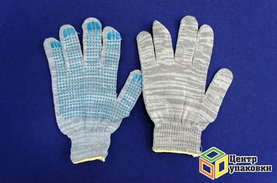 Перчатки ХБ ПВХ  4 нитки (10) Точка Графит