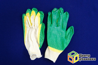 Перчатки ХБ с двойным латексн. зеленые