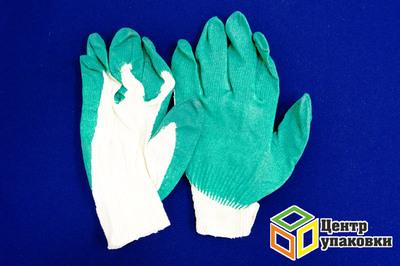 Перчатки ХБ с одним  латексн. зеленые