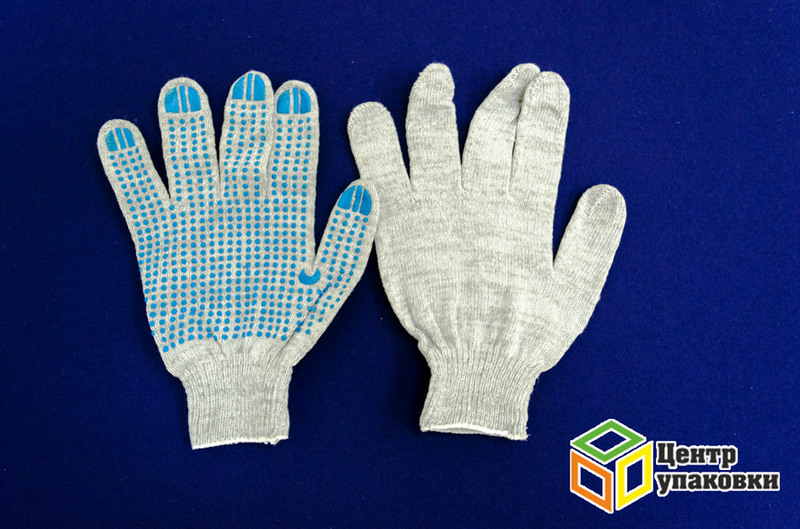 Перчатки ХБ 4нитки с ПВХ серые