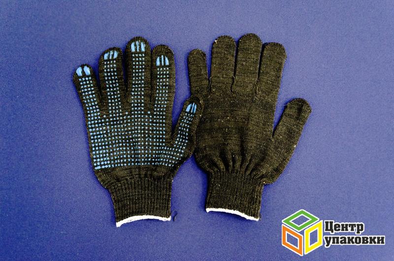 Перчатки ХБ 4нитки с ПВХ черные
