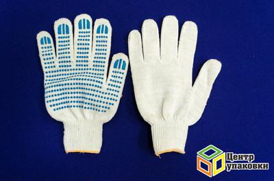 Перчатки ХБ 5 нитки с ПВХ Люкс бел. (10-400)