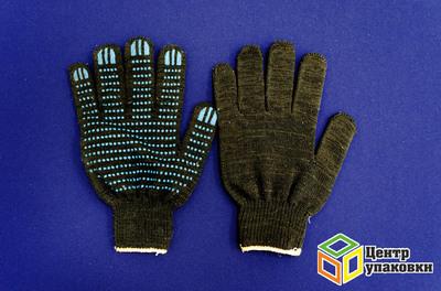 Перчатки ХБ 5 нитки с ПВХ черн.