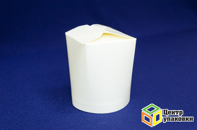 Контейнер бумажный 500 мл белый ламинированный без лого (1-500-50шт.)