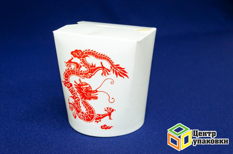 Контейнер бумажный China Pack 500мл срисунком красного дракона (1-480-50шт.)
