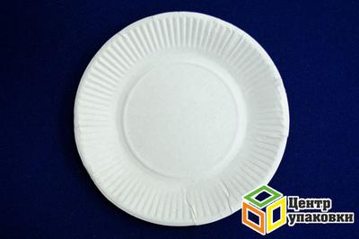Тарелка картон Д 170 кругл белая (11000100шт) Мис