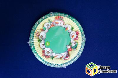 Тарелка картон Д 180 Новый год кругл микс лам.(1-700-10шт)