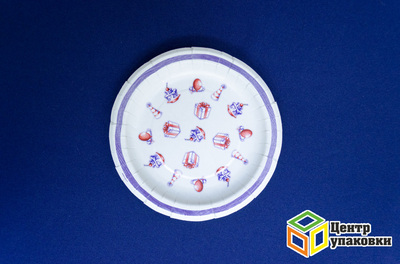 Тарелка картон Д 180 Праздник-Фиолетовая полоса лам (500-10-1шт)