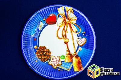 Тарелка картон Д 230 Новый год кругл ламин (150010шт)