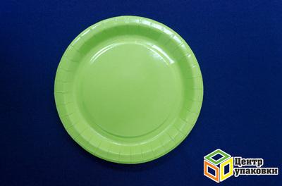 Тарелка картон Д 230 кругл зеленая (13-50шт)