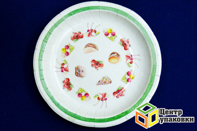 Тарелка картон Д 230 кругл микс с рис в ассорт (150010шт)