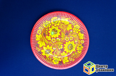 Тарелка картон Д 230 круглая Хохлома (1-500-100шт)