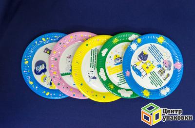 Тарелка картон Д 230 мм, ламин рифлен детская (1-1000)