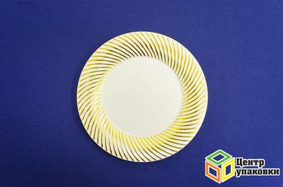 Тарелка пластиковая бежевая Д 230 Complement золотая волна (124012шт)
