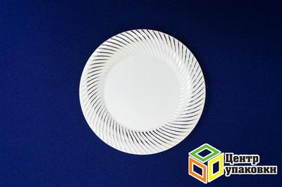 Тарелка пластиковая белая Д 230 Complement золотая ажурная (124012шт)