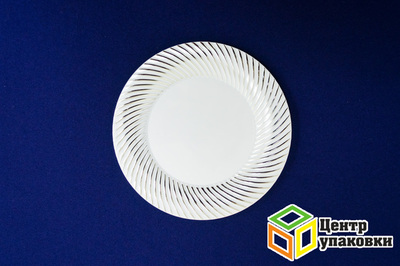 Тарелка пластиковая белая Д 180 Complement серебряная волна (124012шт)