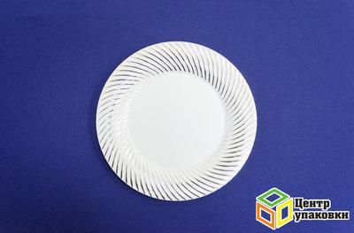 Тарелка пластиковая белая Д 230 Complement серебряная волна (124012шт)