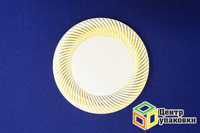 Тарелка пластиковая бежевая Д 180 Complement золотая волна (124012шт)