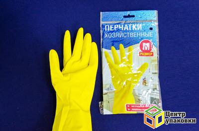Перчатки резиновые М желтые (1-240-12пар) Китай
