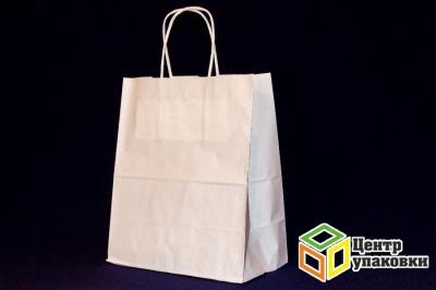 Пакет-сумка крафт 22+12x25 см  БЕЛЫЙ бп  с кручеными ручками (1200шт)
