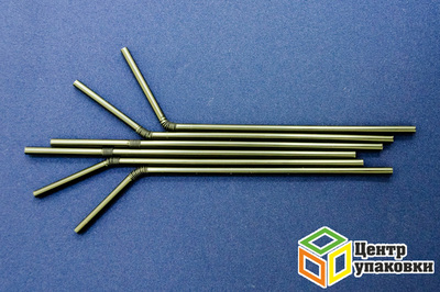 Трубочка сизгибом 0,5×21см черная (1-40-250шт.)