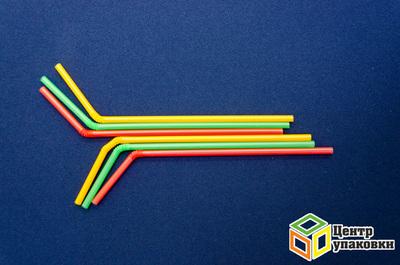 Трубочка сизгибом 0,5×21см цветная (1-8000-1000шт.)