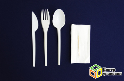Набор №5 (ложка+ вилка+ нож+ зубочистка+ салфетка) (1-800-200уп.)