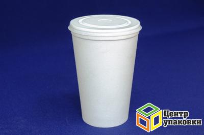 Стакан 500мл ВСП белый Дно (151015шт) + Крышка для стакана д90 (чай, кофе) (11000100шт)