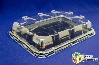 Поднос Sabert 35×24см черный (1-10-50шт.)+ Крышка Sabert 36×24,5см 8-угольная прозрачная (1-25-50шт.)