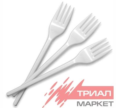 Вилка пластиковая 14,8 см Россия (россыпь) (100 шт.)